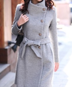 Women woollen trench overcoat