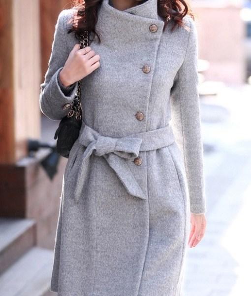 Women woollen trench overcoat