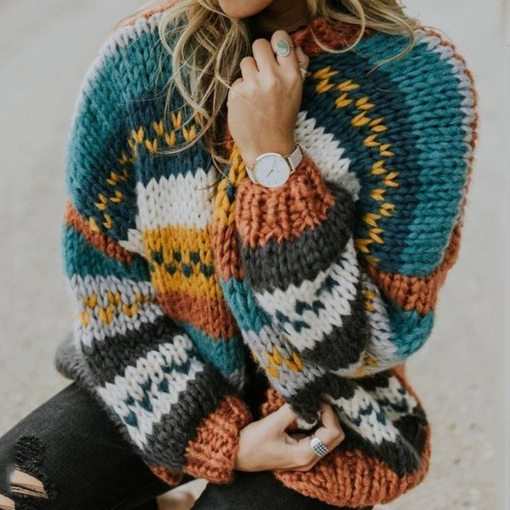 Block Striped Knitted Cardigans Winter