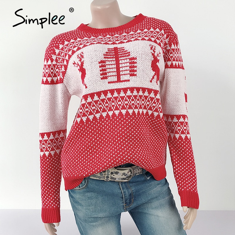 Leisure Cartoon Round Neck Knitted Pullover Christmas 2020