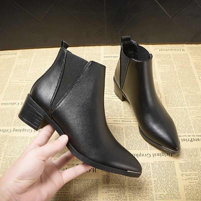 Metal Pointed Toe Ankle Chelsea Boot