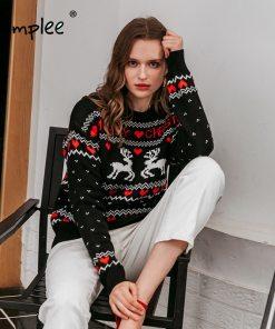 Santa Claus Xmas Tree Reindeer Patterned O-Neck Unisex Jumper Christmas 2020