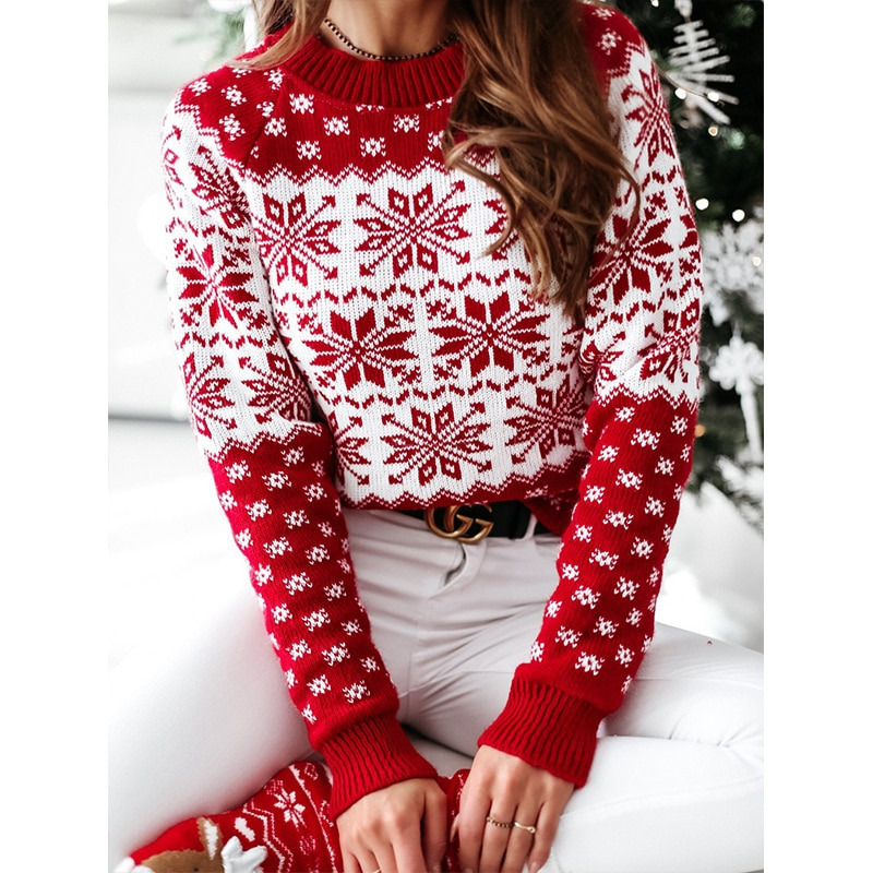 Casual Long Sleeve O Neck Print Knitted Sweater Winter Christmas 2020