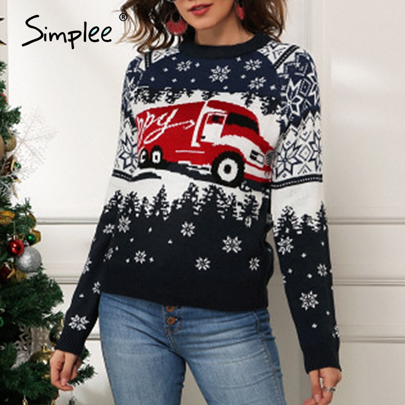 Snowflake Truck Crew Neck Knitted Sweater Winter Christmas 2020