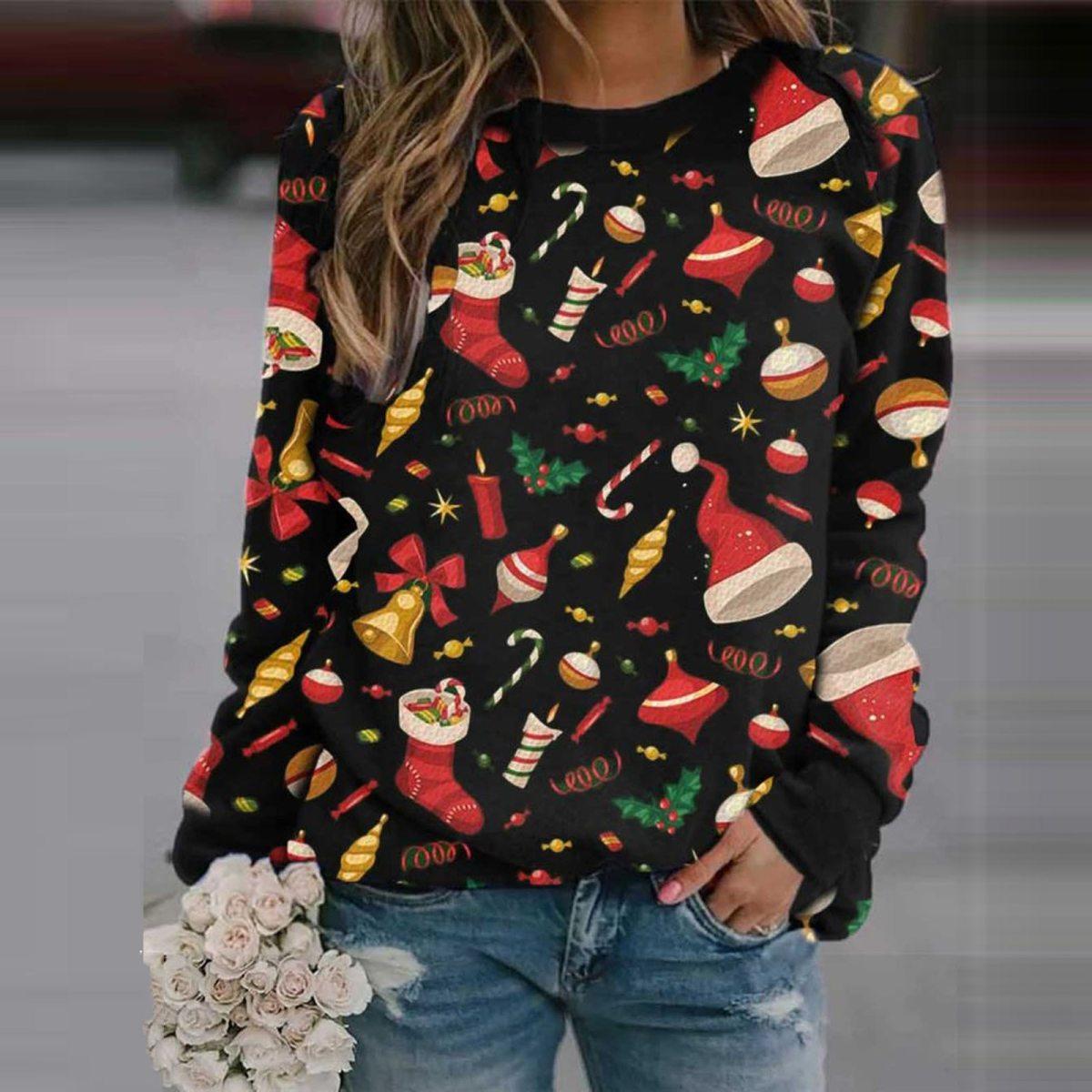Christmas Printing Plaid Sweater