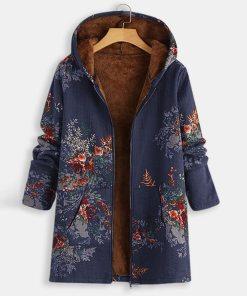 Linen Fluffy Fur Zipper Parkas Coats Jacket