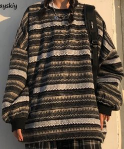 Oversize Ulzzang Unisex Couples Japanese Striped Knit Sweater Winter