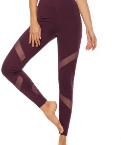 Women's Mesh Insert Workout Leggings Stretchy Skinny Sheer Yoga Tights Activewear