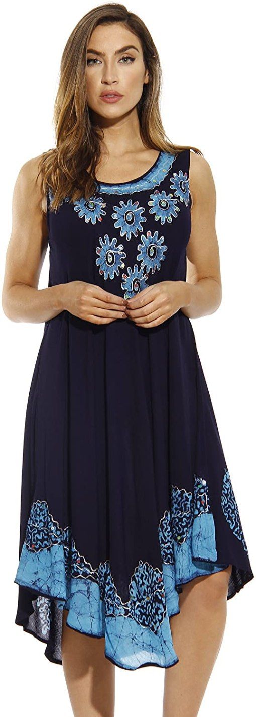 Sun Batik Embroidered Dress Sundresses for Women