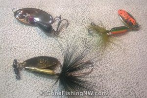 Trout Spinners - Panther Martin in the upper left, and 2 Rooster Tails