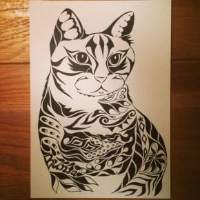 天国に旅立ったペットの猫ちゃん。模様に名前も入れて、思い出にアートなオーダーメイドの絵に。