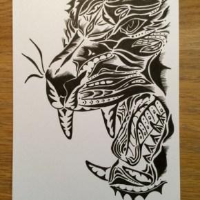 活動初期に迫力のある絵を描いてみたくて、描いた「虎(トラ)」の絵。