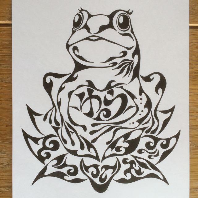蓮 カエル 蛙 ヨガ 似顔絵