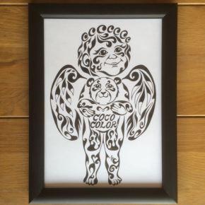 子供たちが集まるアットホームな施設のオープン記念のお祝いに贈る!クマを抱っこする天使の絵のプレゼント