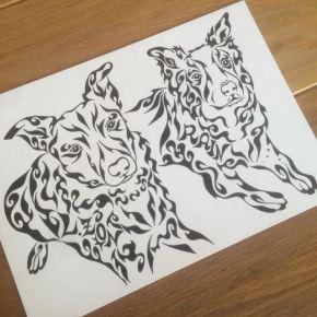 ペットのボーダーコリー犬をモチーフに模様に名前も入れたアートな絵のオーダーメイド