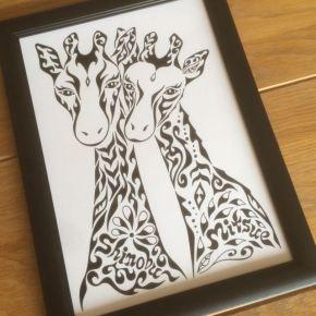 お友達の誕生日プレゼントにイイ!キリンのカップルをモチーフにした絵のオーダーメイド