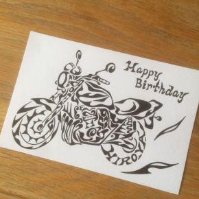 愛車のバイクCB400をモチーフに!大切な方の誕生日に名前の入った絵のプレゼント