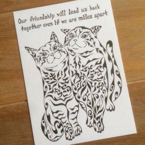 メッセージと、お友達6人の名前を模様の一部に入れた2匹の猫をモチーフにした仲間(友達)の絵