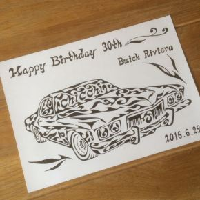 誕生日プレゼントに喜んで頂いています。大切な愛車(アメ車)をモチーフに模様で書く絵の贈り物