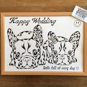 結婚祝のお祝いに!フレンチブルドッグの夫婦をイメージした名前の入った絵の贈り物