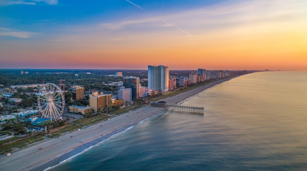 things to do in myrtle beach, arial photo of beach and buildings