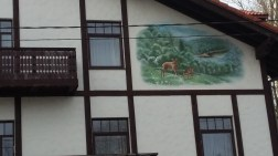 Mural on the side of a hotel, Sigulda