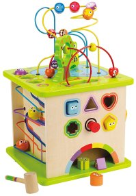 Non-Toxic Holiday Gift - Hape Country Critters Wooden Activity Cube