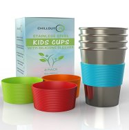 Non Toxic Toddelr Cups - Chillout Stainless Steel Cups with Silicone sleeves
