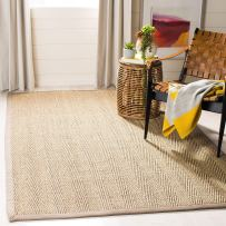 Non Toxic Rugs - Safavieh Natural Fiber Collection NF115P Herringbone Natural and Grey Seagrass Area Rug