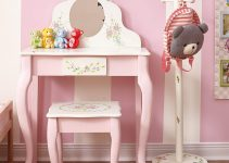 Non Toxic Solid Wood Kids Vanity - Fantasy Fields Bouquet Thematic Kids Classic Vanity Table and Stool Set
