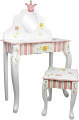Solid Wood Kids Vanity - Fantasy Fields Princess and Frog Thematic Kids Vanity Table and Stool Set