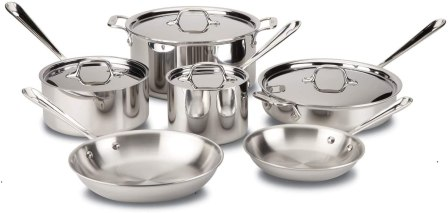 Stainless Steel Cookware - All-Clad D3 Stainless Cookware Set