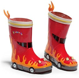 Non Toxic Rain Boots For Kids - Kidorable Red Fireman Natural Rubber Rain Boots w:Fun Flame Pull On Heel Tab