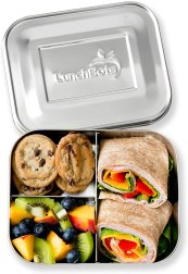 Non Toxic Kids Lunch Box - LunchBots Medium Trio II Snack Container - Divided Stainless Steel Food Container
