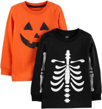 Non Toxic Halloween Shirt For Kids - Simple Joys by Carter's Toddler Boys' 2-Pack Halloween Long-Sleeve Tees