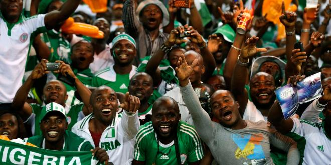 Nigeria fans celebrate in the stands ...new controversies