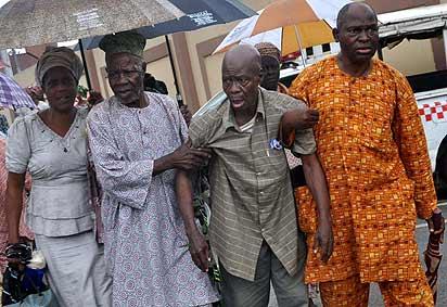 Protesting pensioners...one of them write President Buhari on Abdulrasheed Maina