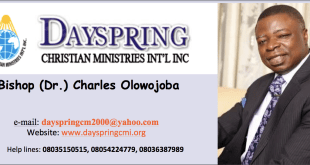 Bishop (Dr) Charles Olowojoba, Dayspring Bible...heaven