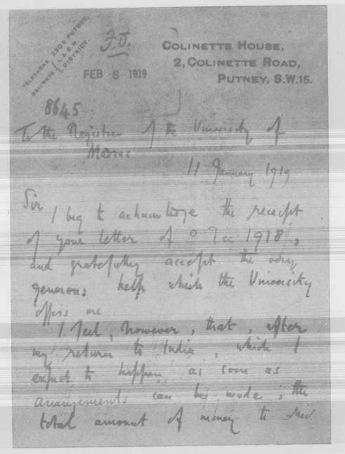 Copy of Ramanujan's letter to the Register, University of Madras (The letter was written in G. H. Hardy's hand) -1