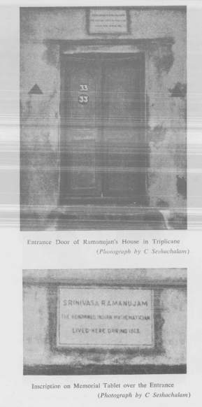 Entrance Door of Ramanujan's House in Triplicane -And- Inscription on Memorial Tablet over the Entrance