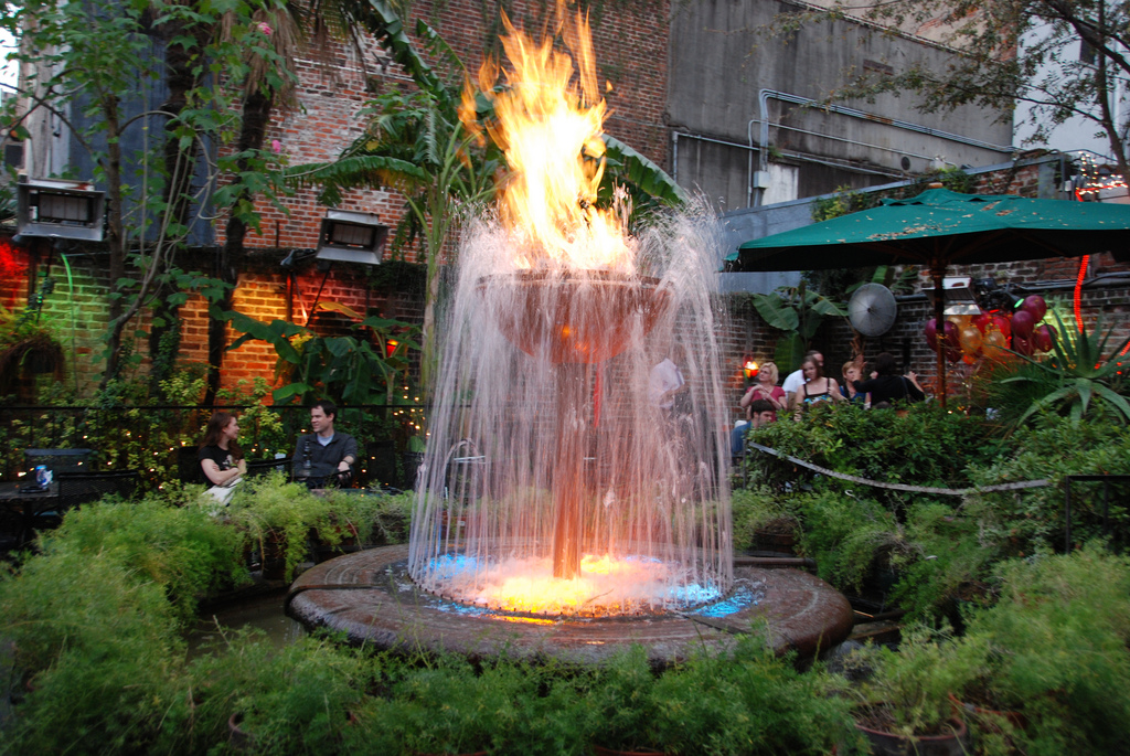 Pat O'Brien's Flaming Fountain (photo courtesy of flickr by Michele Carbone)