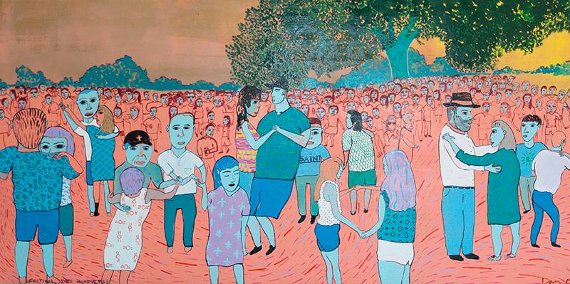 """Festival des Acadiens"" by Devin DeWulf, oil on wood panel, 4' x 2'"