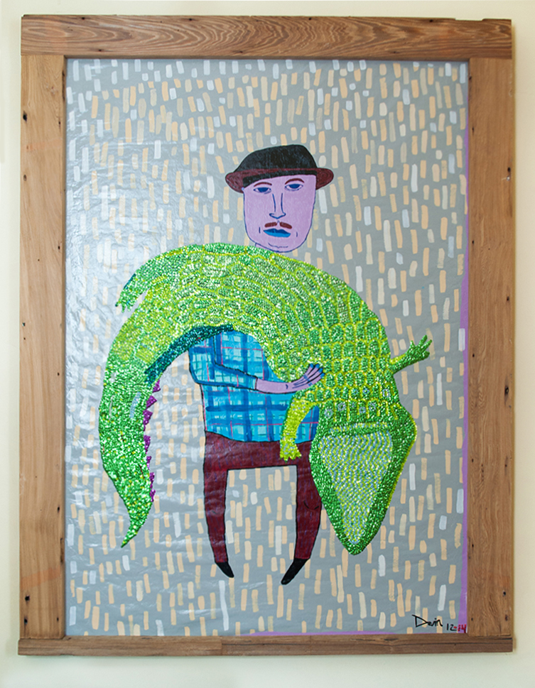 """""""Gator"""" by Devin DeWulf, oil on canvas with hand-sewn bead and sequins 4' x 6'"""