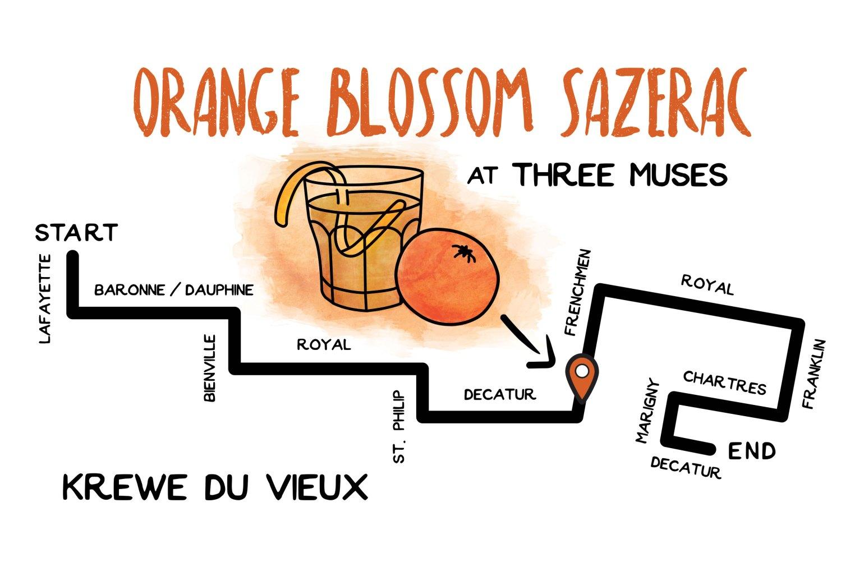 Parades and cocktails: Orange blossom sazerac at three muses