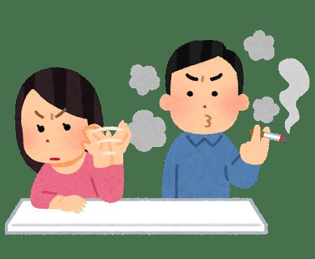 嫌煙家と喫煙者の絵