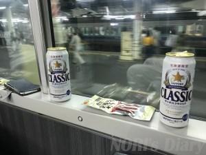 ビールと車窓