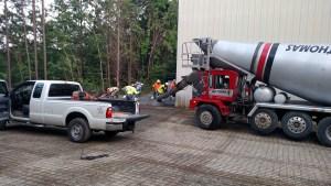 1st truck unloads