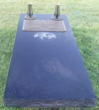 India Black full ledger, laser photo engrave, bronze plate for two, and 2- bronze vases