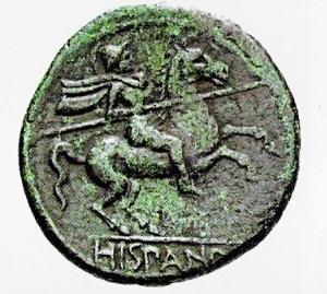 Lamina I: Jinete lanza en ristre en una moneda de mercenarios hispanos (según Quesada Sanz 2009b: 173).