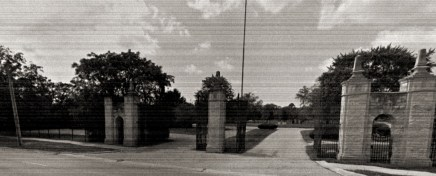 Front gates of Clarendon Hills Cemetery